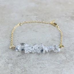 April Birthstone Bracelet, Clear Quartz - Gold