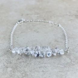 April Birthstone Bracelet, Clear Quartz - Silver