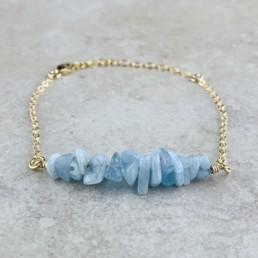 March Birthstone Bracelet, Aquamarine - Gold