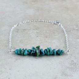 December Birthstone Bracelet, Turquoise - Silver