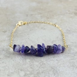 February Birthstone Bracelet, Amethyst - Gold