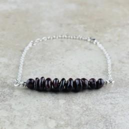 January Birthstone Bracelet, Red Garnet - Silver