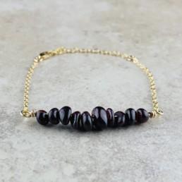 January Birthstone Bracelet, Red Garnet - Gold