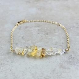 November Birthstone Bracelet, Citrine - Gold