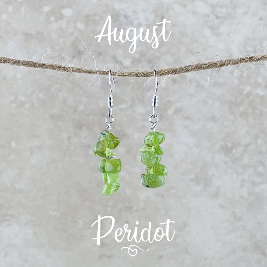 August Birthstone Earrings, Peridot
