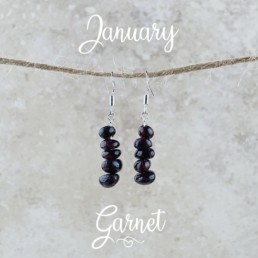 January Birthstone Earrings, Red Garnet - Gold