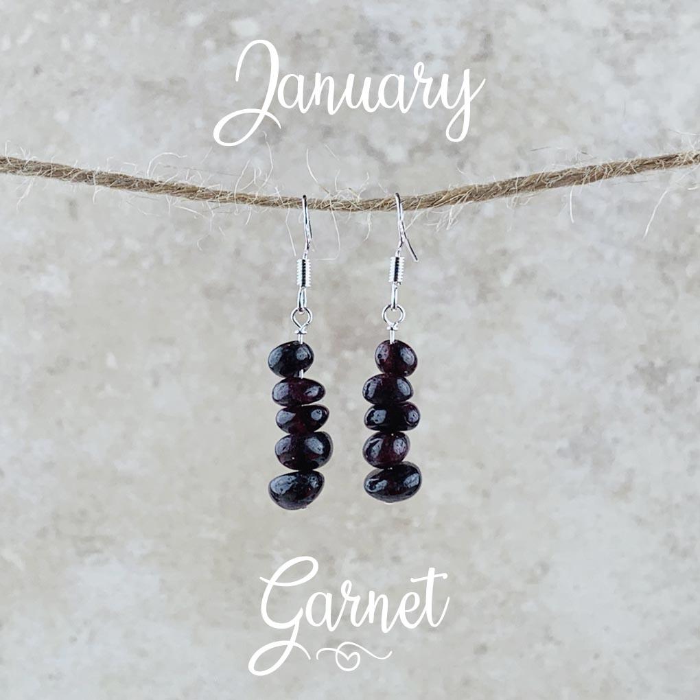 January Birthstone Earrings, Red Garnet - Gold
