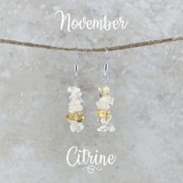 November Birthstone Earrings, Citrine
