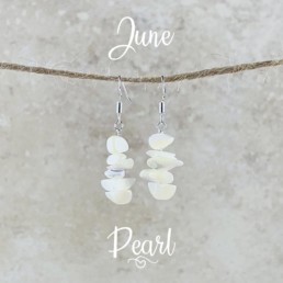 June Birthstone Earrings, Pearl