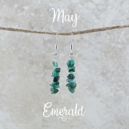 May Birthstone Earrings, Emerald - Silver