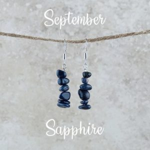 September Birthstone Earrings, Sapphire