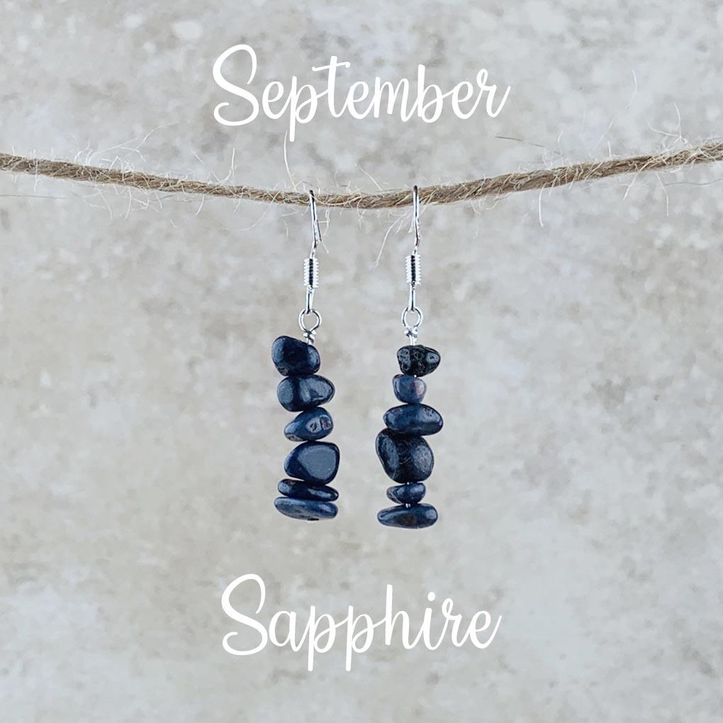 September Birthstone Earrings, Sapphire