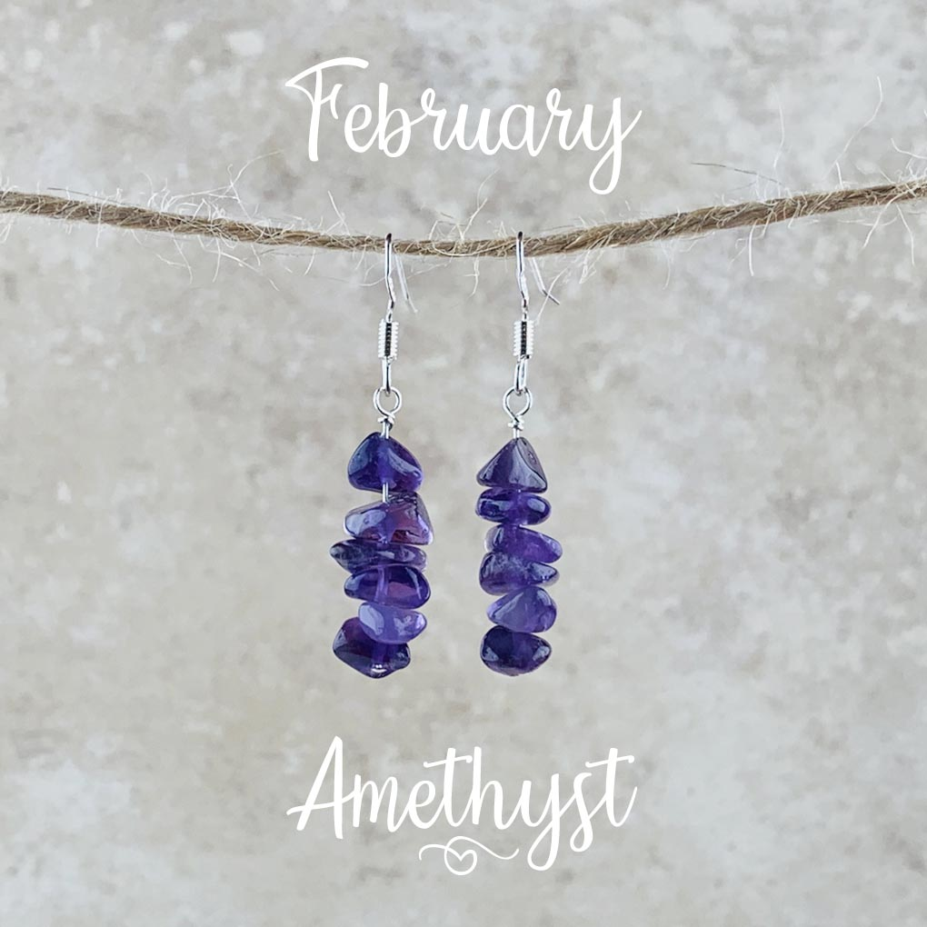 February Birthstone Earrings, Amethyst - Silver