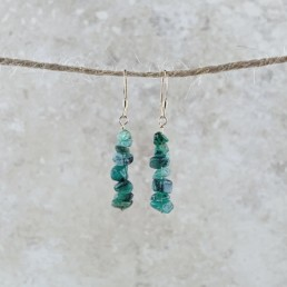 May Birthstone Earrings, Emerald - Gold