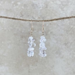 April Birthstone Earrings, Clear Quartz - Gold