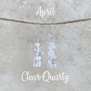 April Birthstone Earrings, Clear Quartz