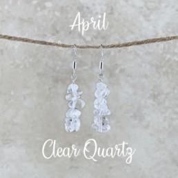 April Birthstone Earrings, Clear Quartz