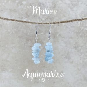 March Birthstone Earrings, Aquamarine