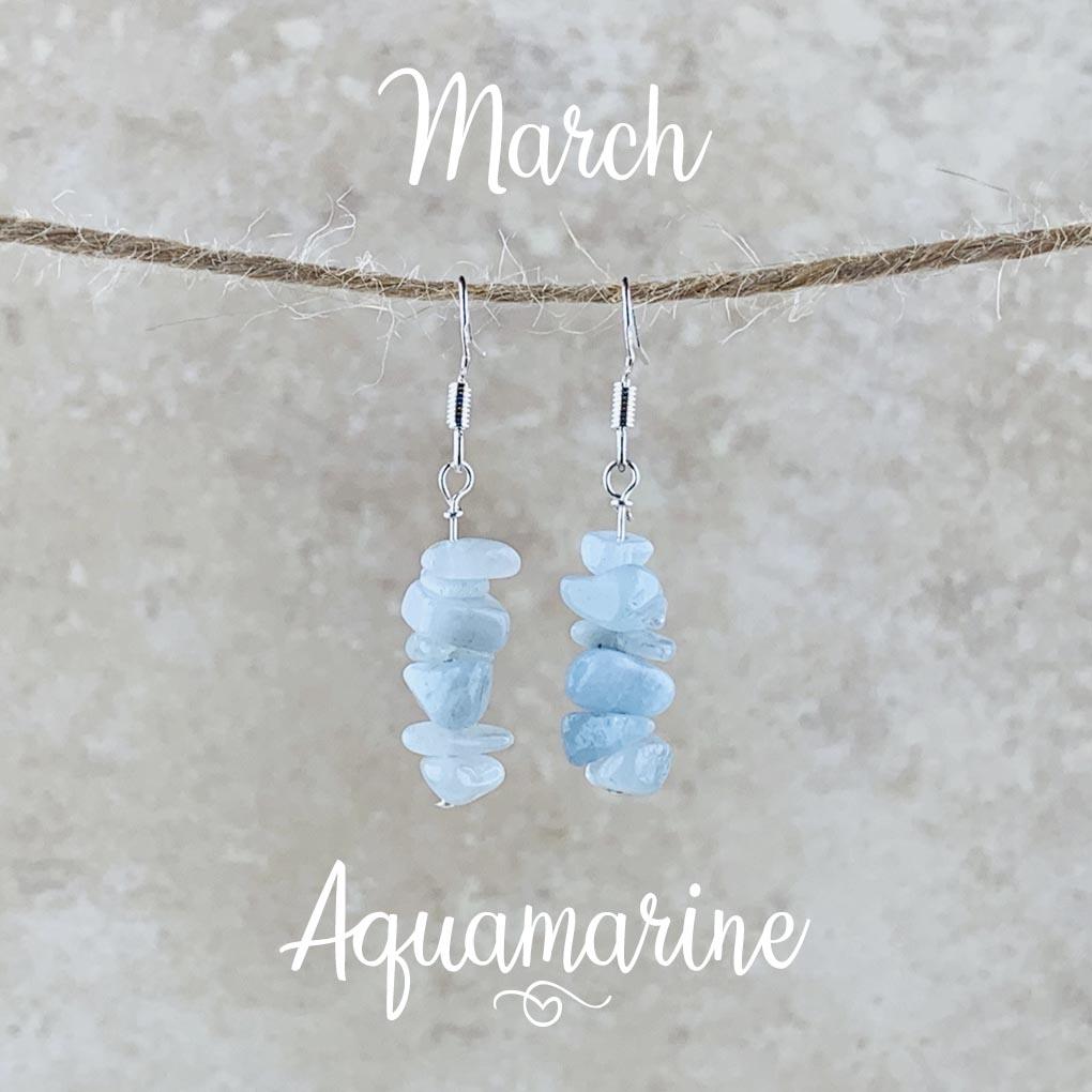 March Birthstone Earrings, Aquamarine