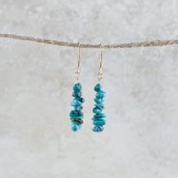 December Birthstone Earrings, Turquoise - Gold