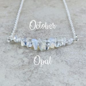 October Birthstone Necklace, Opal