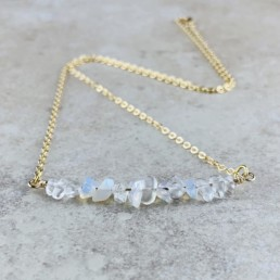 October Birthstone Necklace, Opal - Gold