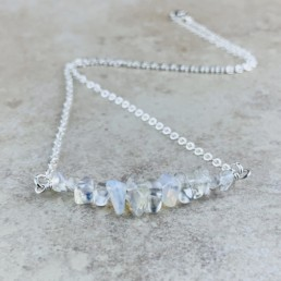 October Birthstone Necklace, Opal - Silver