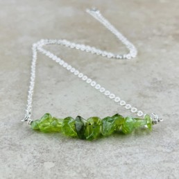 August Birthstone Necklace, Peridot - Silver