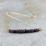 July Birthstone Necklace, Ruby - Gold