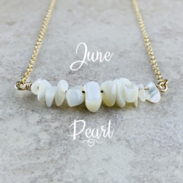 June Birthstone Necklace, Pearl