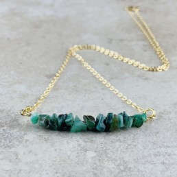 May Birthstone Necklace, Emerald - Gold