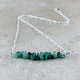 May Birthstone Necklace, Emerald - Silver