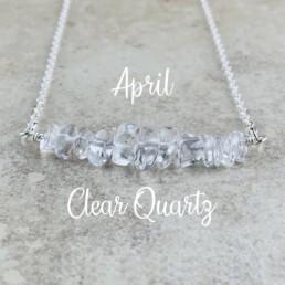 April Birthstone Necklace, Clear Quartz
