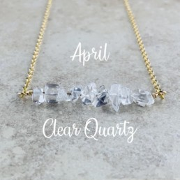 April Birthstone Necklace, Clear Quartz