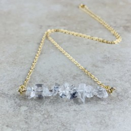 April Birthstone Necklace, Clear Quartz - Gold