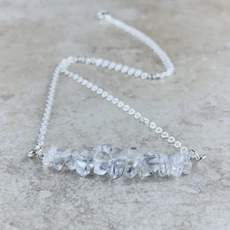 April Birthstone Necklace, Clear Quartz - Silver