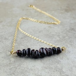 January Birthstone Necklace, Red Garnet - Gold