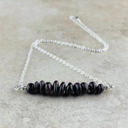 January Birthstone Necklace, Red Garnet - Silver