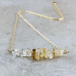 November Birthstone Necklace, Citrine - Gold