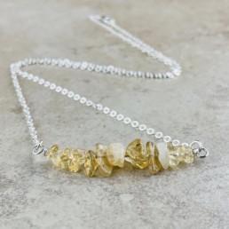 November Birthstone Necklace, Citrine - Silver