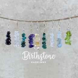 Nia9 Jewellery Raw Crystal Birthstone Earrings