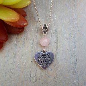 Rose Quartz, Love & Light Heart Necklace