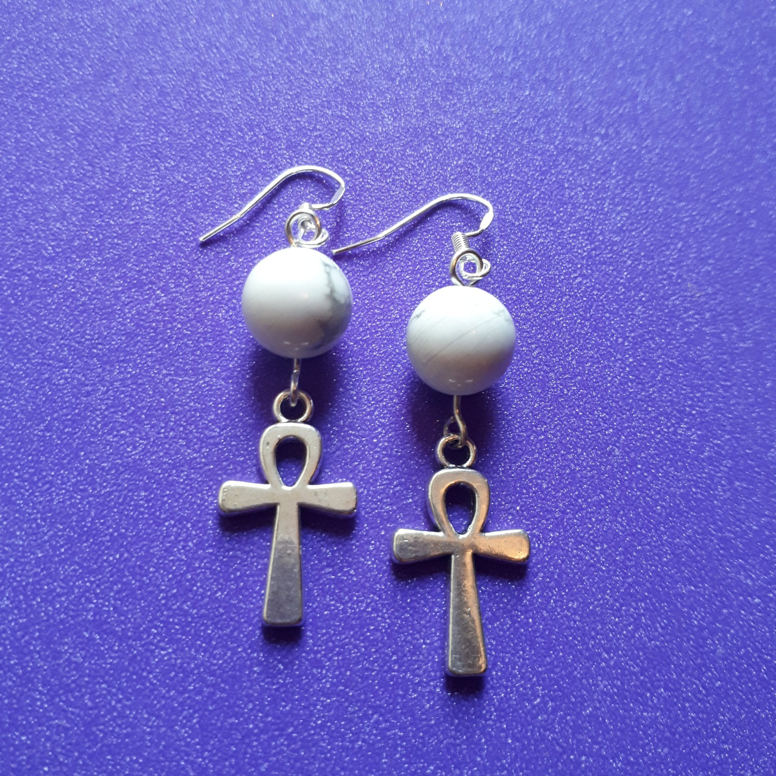 Sterling Silver Ankh and Howlite Earrings