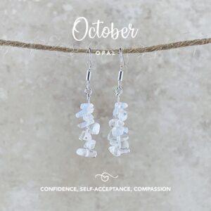 October Birthstone Earrings, Opal