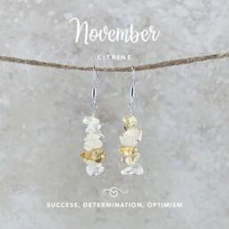 November Birthstone Earrings, Citrine