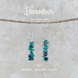 December Birthstone Earrings, Turquoise