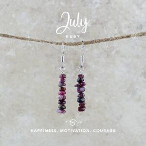 July Birthstone Earrings, Ruby