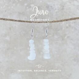 June Birthstone Earrings, Moonstone
