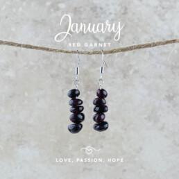 January Birthstone Earrings, Red Garnet