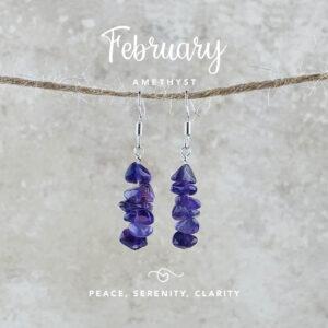 February Birthstone Earrings, Amethyst